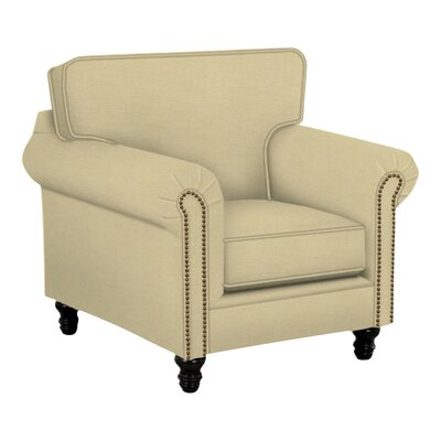 Vivian Arm Chair Body Fabric: Lizzy Linen, Nailhead Finish: Pewter
