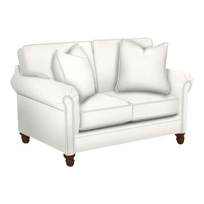 Vivian Loveseat Body Fabric: Classic Bleach White, Nailhead Finish: Pewter