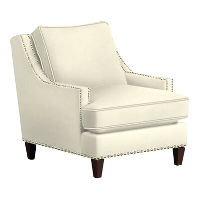 Paige Arm Chair Body Fabric: Shack Gunmetal, Nailhead Finish: Pewter