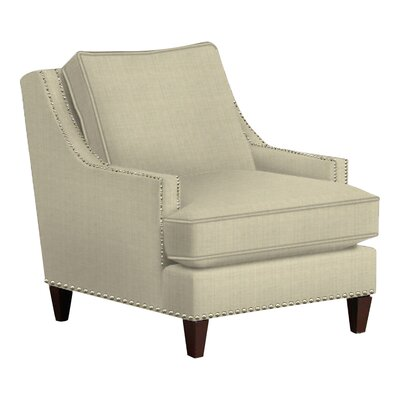 Paige Arm Chair Body Fabric: Hilo Flax, Nailhead Finish: Pewter