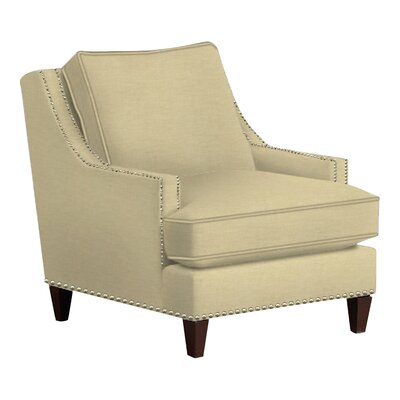 Paige Arm Chair Body Fabric: Lizzy Linen, Nailhead Finish: Pewter