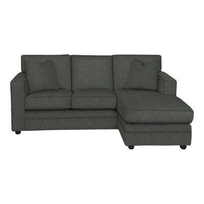 Andrew Reversible Chaise Sectional Body Fabric: Lizzy Graphite, Pillow Fabric: Lizzy Graphite