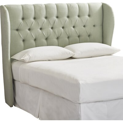 Elsa Upholstered Wingback Headboard Size: King, Body Fabric: Linen Swedish Blue