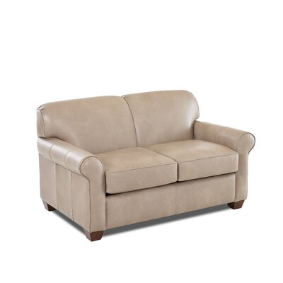 Jennifer Leather Loveseat Leather Application: Leather Top, Body Fabric: Steamboat Putty