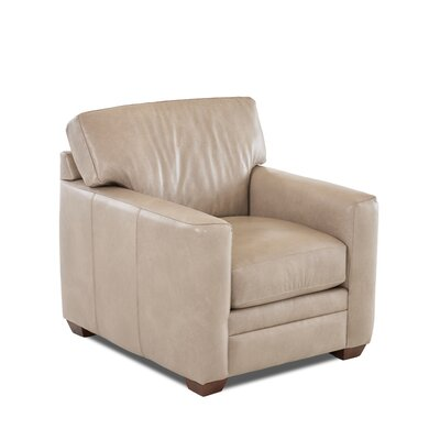 Carleton Club Chair Body Fabric: Steamboat Putty, Leather Application: Leather Match