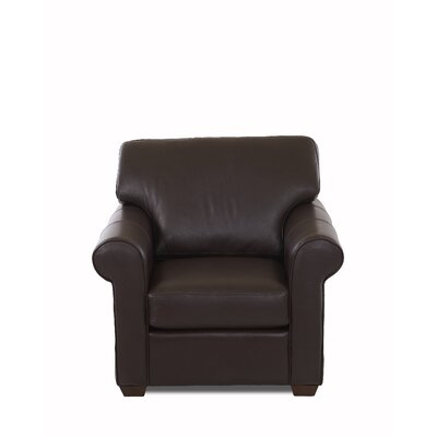 Rachel Club Chair Body Fabric: Durango Espresso, Leather Application: Leather Top