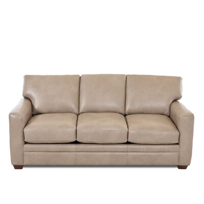 Carleton Leather Sofa Body Fabric: Steamboat Putty, Leather Application: Leather Top