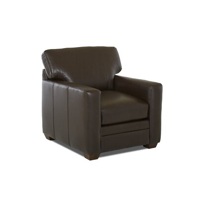 Carleton Club Chair Body Fabric: Durango Espresso, Leather Application: Leather Top