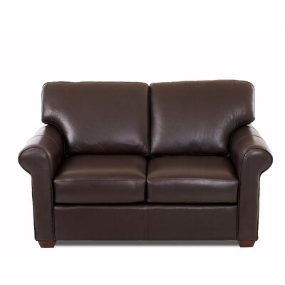 Rachel Leather Loveseat Body Fabric: Durango Espresso, Leather Application: Leather Top