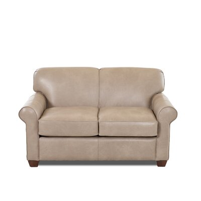 Jennifer Leather Loveseat Body Fabric: Steamboat Putty, Leather Application: Leather Match