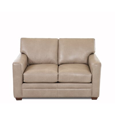 Carleton Leather Loveseat Body Fabric: Steamboat Putty, Leather Application: Leather Match