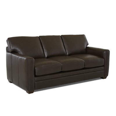 Carleton Leather Sofa Leather Type: Faux Leather, Body Fabric: Durango Espresso