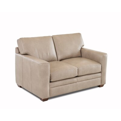 Carleton Leather Loveseat Leather Type: Faux Leather, Body Fabric: Steamboat Putty