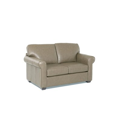 Rachel Leather Loveseat Leather Application: Leather Top, Body Fabric: Steamboat Putty