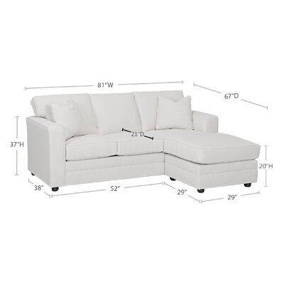 upholstered lounge furniture - Andrew Reversible Sectional - Body Fabric: Tibby Linen, Pillow Fabric: Dumdum Charcoal, Piping Fabric: Spinnsol Optic White - Wayfair Custom Upholstery Sectionals