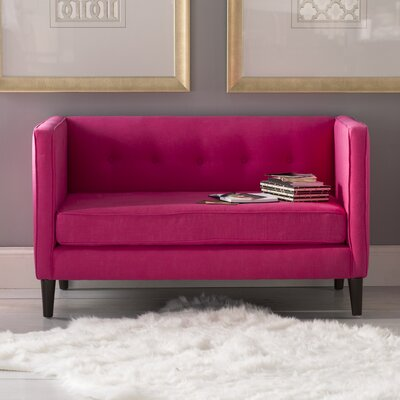 Crosby Settee Body Fabric: Linen Fuchsia