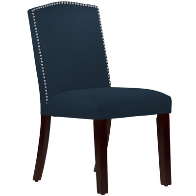 Nadia Parsons Chair with Nail Buttons Body Fabric: Linen Navy