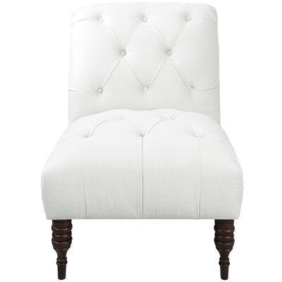 Arch Hill Shantung Tufted Slipper Chair Upholstery: Velvet White