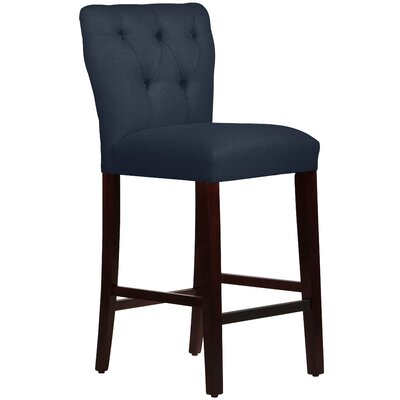 Evelina 31 Bar Stool Upholstery: Linen Navy