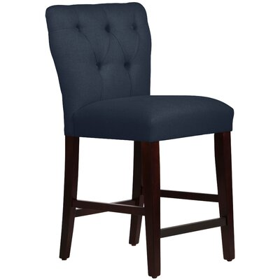 Evelina 26 Bar Stool Upholstery: Linen Navy