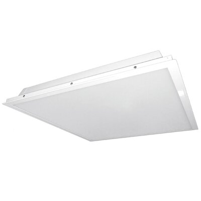 Image of 2 Light Flush Mount Size: 4.7 H x 23.7 W x 23.7 D Bulb Color Temperature: 3500K Ballast: With Emergency