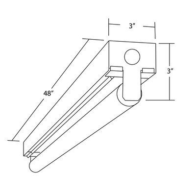 T8 Fluorescent Linear Strip Semi Flush Mount Size: 3 H x 48 W x 3 D