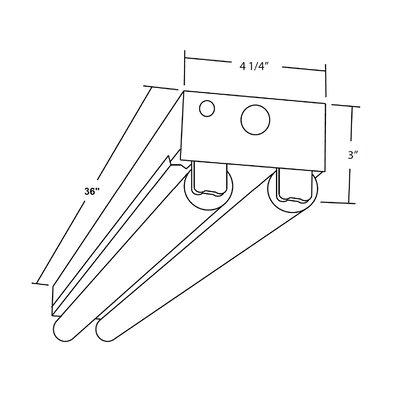T8 Fluorescent Linear Strip Semi Flush Mount Size: 3 H x 36 W x 4.25 D
