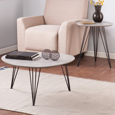 2 Piece End Table Set Color: Matte Gray