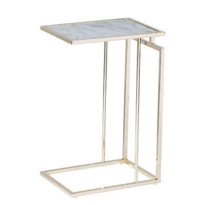 Howell End Table Table Base Color: Champagne, Table Top Color: White Marble