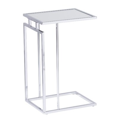 Howell End Table Table Base Color: Chrome, Table Top Color: White