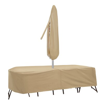 Oval Table and High Back Chair Cover with Umbrella Hole Size: 30 H x 108 W x 80 D, Color: Tan