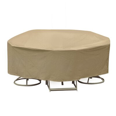 Round Table and High Back Chair Cover Size: 30 H x 108 W x 108 D, Color: Tan