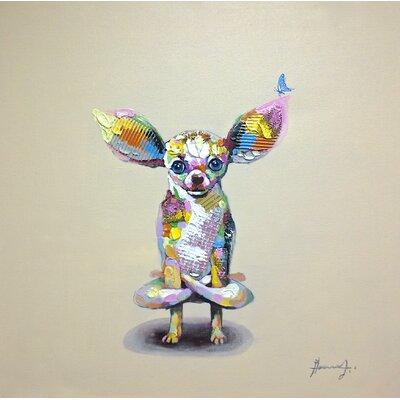 Levitating Lapdog Original Painting On Canvas
