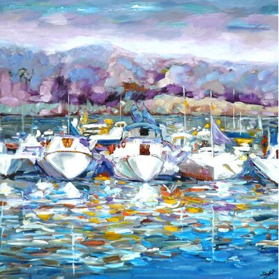 Lake Navy Original Painting On Wrapped Canvas