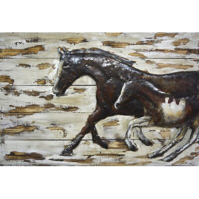 Mare And Foal Mixed Media Wall Art