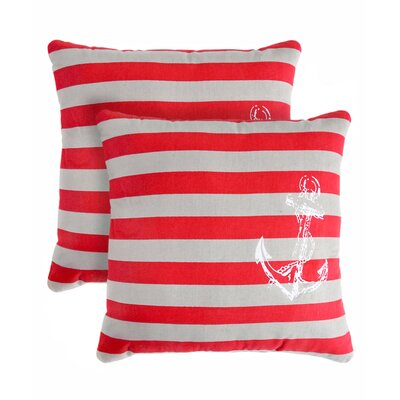 Anchor Stripe Cotton Throw Pillow