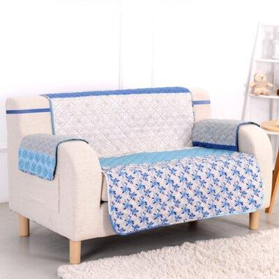 Blue Stone Box Cushion Loveseat Slipcover