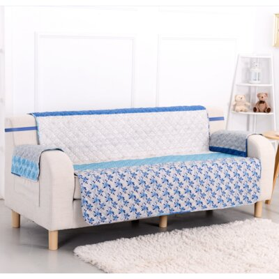 Blue Stone Box Cushion Loveseat Slipcover