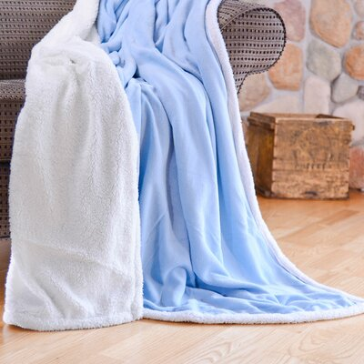 Cozy Nights Sherpa Fleece Blanket Size: Full/Queen, Color: Light Blue