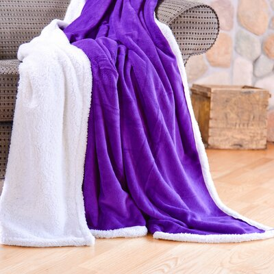 Cozy Nights Sherpa Fleece Blanket Size: Full/Queen, Color: Purple