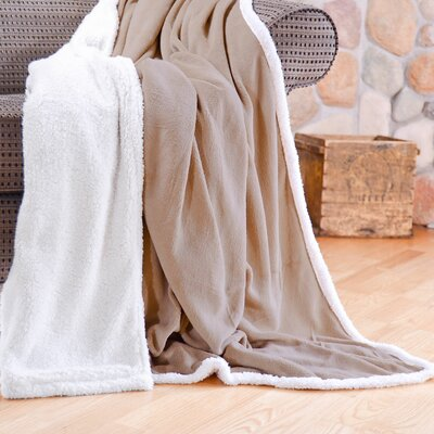 Cozy Nights Sherpa Fleece Blanket Size: Full/Queen, Color: Tan