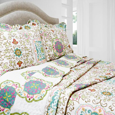 Vintage Candella Reversible Coverlet Set Size: Full / Queen