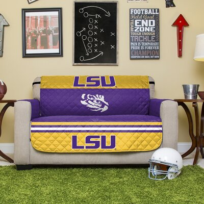 Stanford Protector Polyester Sofa Slipcover with Elastic Straps NCAA Team: Louisiana State University