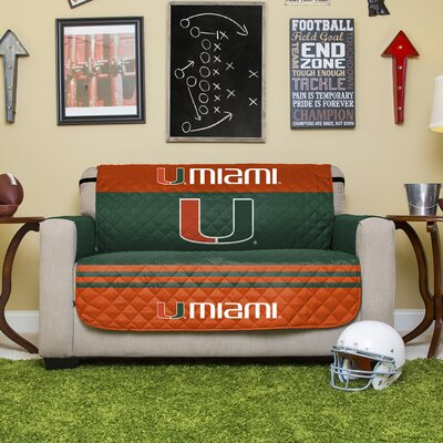 Stanford Protector Polyester Sofa Slipcover with Elastic Straps NCAA Team: University of Miami (Florida)