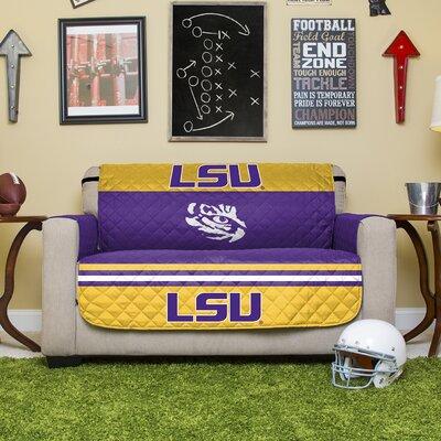 Auburn Protector Polyester Loveseat Slipcover with Elastic Straps NCAA Team: Louisiana State University