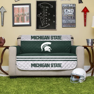 Auburn Protector Polyester Loveseat Slipcover with Elastic Straps NCAA Team: Michigan State University