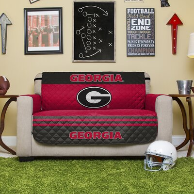 Auburn Protector Polyester Loveseat Slipcover with Elastic Straps NCAA Team: University of Georgia