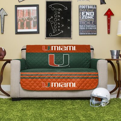 NCAA Polyester Loveseat Slipcover NCAA Team: University of Miami (Florida)
