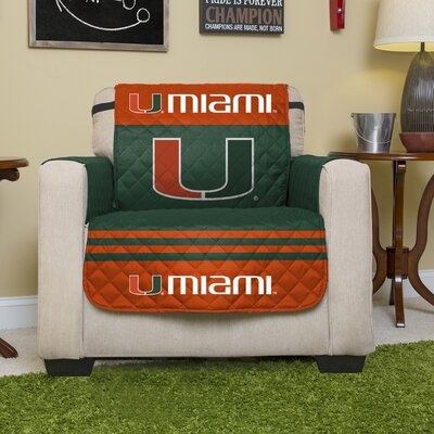 Auburn Protector Polyester Chair Slipcover with Elastic Straps NCAA Team: University of Miami (Florida)