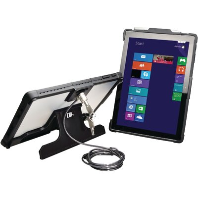 Security Case with Kickstand and Galvanized Steel Antitheft Cable for Microsoft Surface Pro 4 Tablet Mounting System